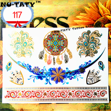 Nu-TATY 24 Style Temporary Tattoo Body Art, Gold Dreamcatcher Designs, Flash Tattoo Sticker Keep 3-5 Days Waterproof 21x15cm