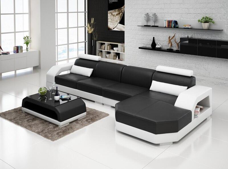 l shape modern sectional living room leather sofa g8001c