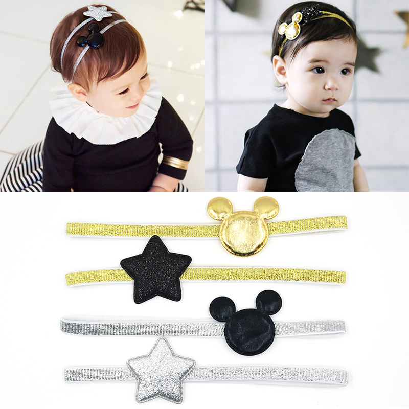2 PCS 2016 Newly Design Mickey Children's Elastic Hair Band Girls Hair Accessories Baby Star Shining Headbands Kids Headwear