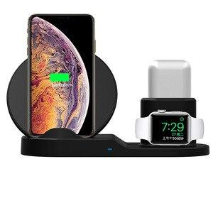 Image 1 - Hızlı şarj kablosuz iphone şarj cihazı XS XR XS Max 3 In 1 kablosuz şarj doku istasyonu Apple için İzle serisi 1 2 3 Airpods