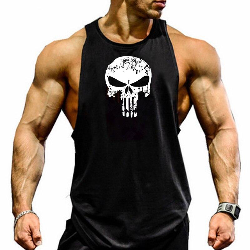 Skull Printed Bodybuilding Fitness Stringers Shirt Men Tank Top Running Vest Undershirt Gym Sport Tank Top
