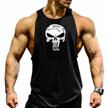 Skull Printed Bodybuilding Fitness Stringers Shirt Men Tank Top Running Vest Undershirt  Gym Sport Tank Top skull flower tank top with openwork lace back