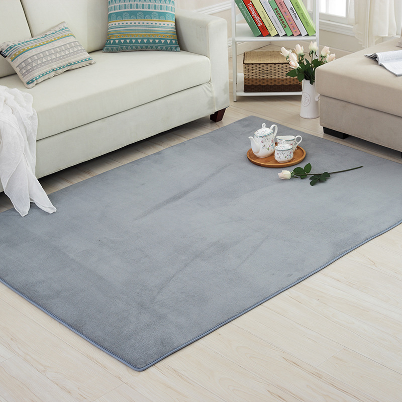 Thick Solid Color Pattern Coral Velvet Carpet Modern Home Living Room Bedroom Bedside Tatami Crawling Mat Full Shop