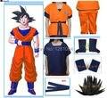 Frete grátis Dragon Ball Z GoKu Cosplay Traje de Halloween traje cosplay 2 * brasão + 1 * pant + 1 * sapata capa + 1 * belt + 1 * Peruca