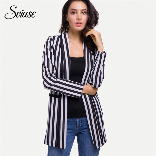 Fashion Ladies Striped Long Blazer Suit 2018 Women Autumn Long-Sleeve Office Formal Jacket Female Casual Plus Size Korean Coats