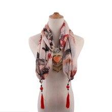 women pendant jewelry viscose scarfs mujer spring shawls necklace fashion apparel accessory tassel love dendant scarf