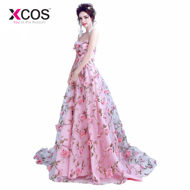 XCOS Pink Flowers   Prom     Dresses   2017 Long Strapless Sweetheart vestido de formatura longo Evening Gown Party Halloween