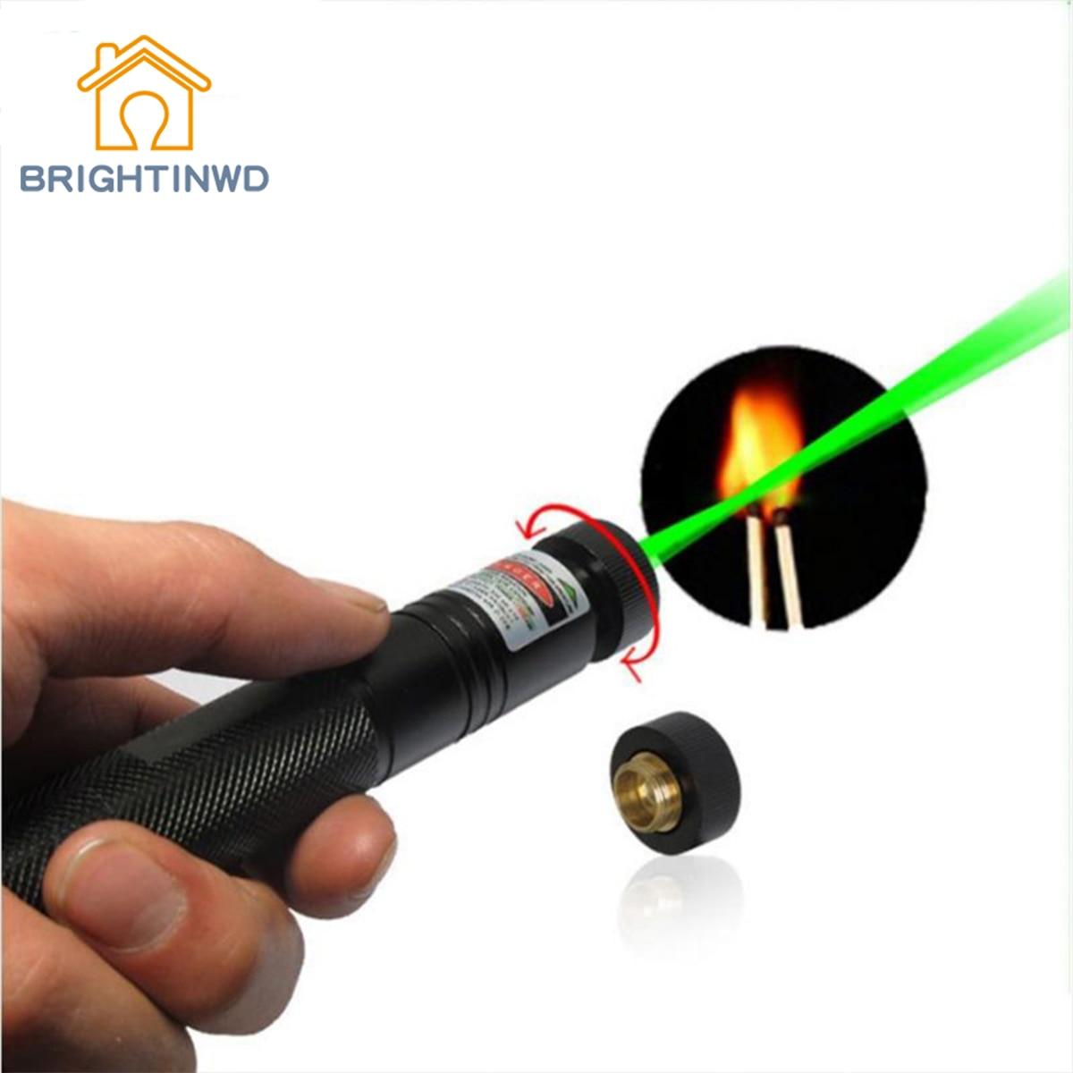 BRIGHTINWD Green Laser Pointer High Power Strong Light Match Cigarette and Fire Lighter beam Laser Flashlight Torch