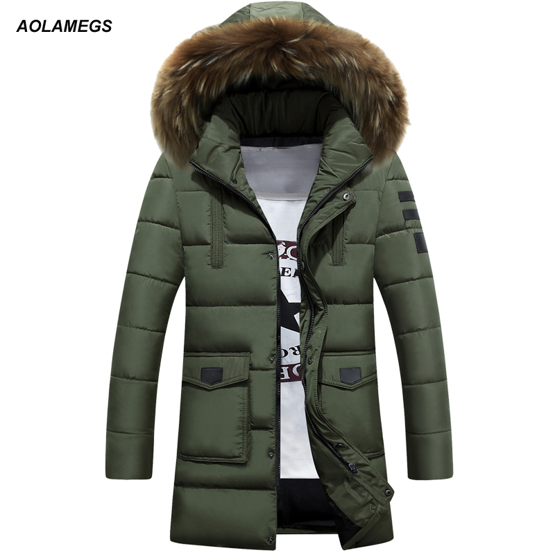 Aolamegs Winter Jacket Men Thick Warm Cotton Padded Fur Collar Hooded Winter Coats Outdoors Windproof Medium-Long Parka Hombre winter coats for girls long outerwear jacket thick warm fur collar hooded cotton padded coat girls parka coats
