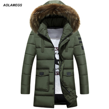 Aolamegs Winter Jacket Men Thick Warm Cotton Padded Fur Collar Hooded Winter Coats Outdoors Windproof Medium