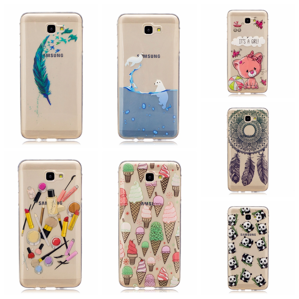 Cute Icecream feather cat dolphin panda patterns Soft tpu Phone Case Coque For Samsung On5 2016 phone case