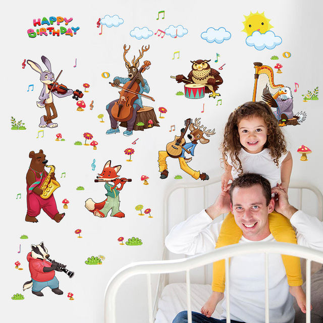 Cartoon jungle wild animals band wall stickers for kids rooms party birthday home decor pvc wall