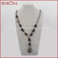 BOROSA Druzy Labradorite Stone & Natural Quartz Beads Paved Zircon Pendant Necklace,Handmade Drusy Necklace Gems Jewelry JAB788