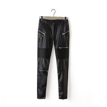 Fashion Women Faux Leather Long Pant Cozy Leggings Trouses Spliced Zipper Casual Pencil Pants
