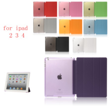 Siamese PC Leather  Case for Apple iPad 2 3 4 Fashion Smart Cover + translucent back A1430`A1403`A1395A1396