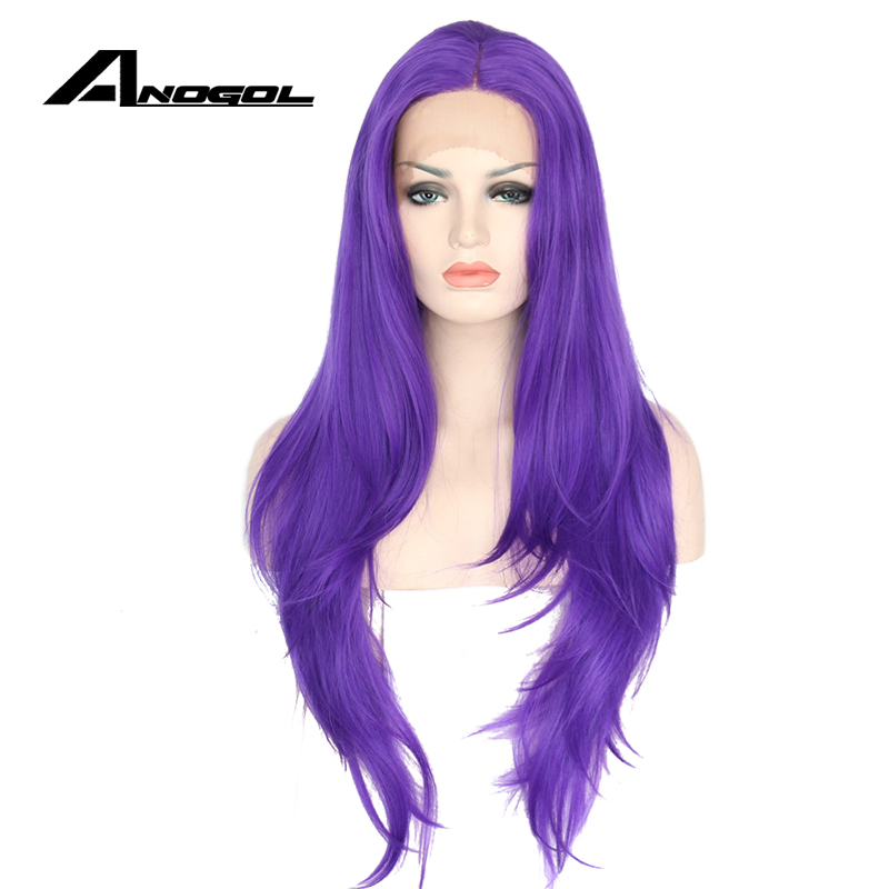 Anogol High Temperature Fiber Perruque Frontal Wigs Long Natural Wave Purple Synthetic L ...