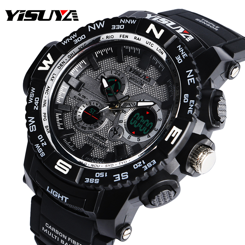 YISUYA Dual Time Zone Digital Noctilucent Analog 3ATM Water Resistant Day Date Rubber Band Strap Chronograph Wrist Watch цена и фото