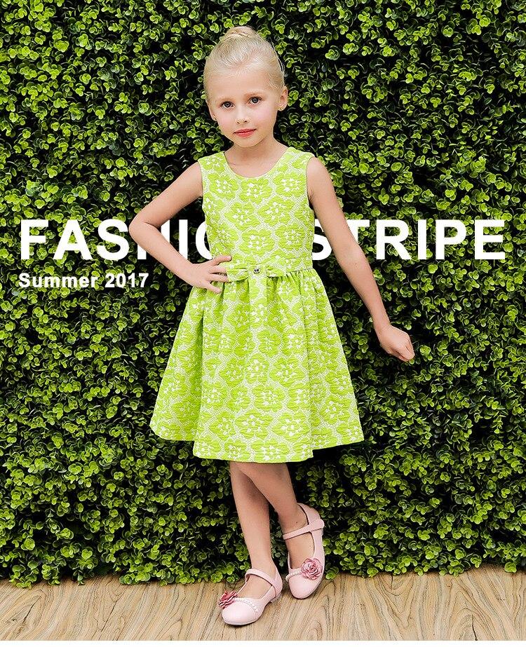 2017 Summer Girls Dress Top Brand Jacquard Princess Kids Clothes Toddler Dresses Children 3-10 years Kid Cotton Green Clothing