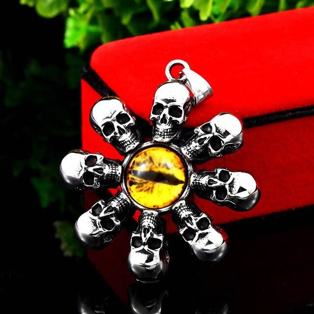 751290cda9af BEIER 316L de acero inoxidable Vitage cráneo con ojo amarillo COLLAR  COLGANTE para hombre Punk joyería