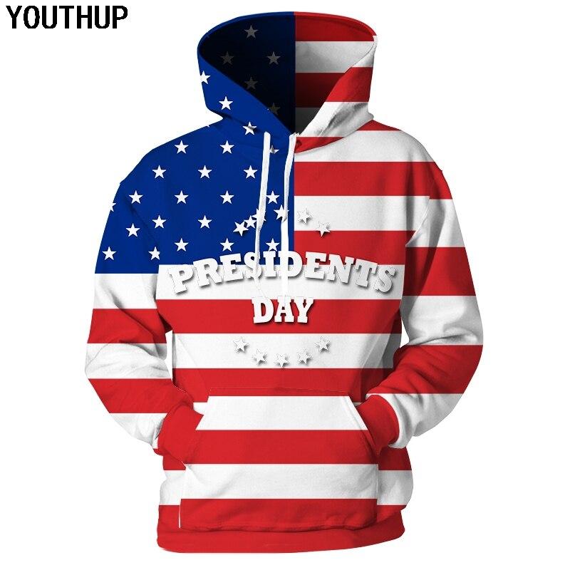 YOUTHUP 2019 3D Hoodies Sweatshirts Men American Flag Print Hooded Hoodies Men Pullover Fashion Streetwear Plus Size Funny Print