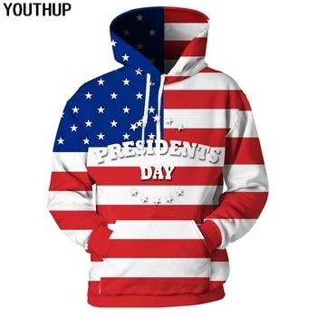цены YOUTHUP 2020 3D Hoodies Sweatshirts Men American Flag Print Hooded Hoodies Men Pullover Fashion Streetwear Plus Size Funny Print