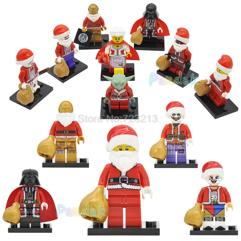 Christmas Santa Claus Yoda C3PO Darth Vader Legoingly Figure Xmas Gift Harley Quinn Star Wars Model Building Blocks Toys