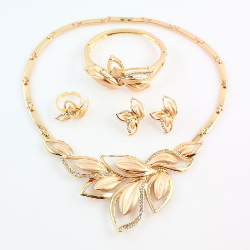 YENI Afrika Boncuk Takı Set Altın Renk Temizle Avusturyalı Kristal - Kostüm mücevherat - Fotoğraf 3