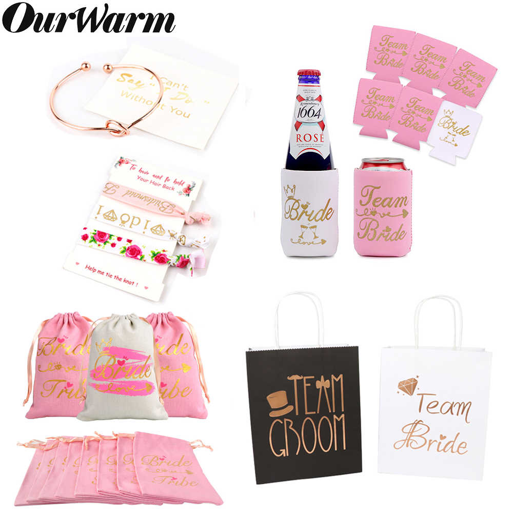 OurWarm Bridesmaid Gift Can Bridal Shower Favors Cooler Sleeves Drawstring Gift Bags Hen Night Bachelorette Party Supplies