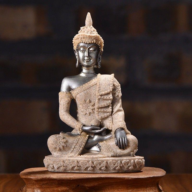 Résine Statue de Bouddha Sakyamuni Bouddha Méditative Ornements de Bon Augure Sculpté Figurine Décor À La Maison Artisanat Accessoires De Voiture