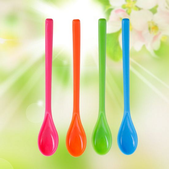 18cm cooking tools kitchen accessories Tableware spoons <font><b>colher</b></font> talheres Plastic colorful spoons children Z992 image