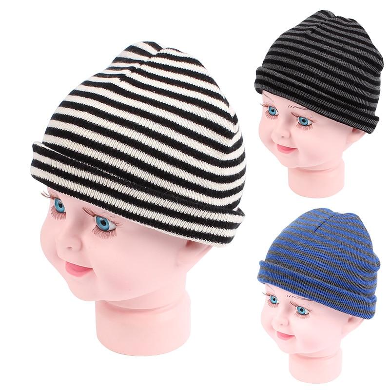 Casual Knit Baby Hat Rayas Algodón Niños Beanie Primavera Otoño - Ropa de bebé