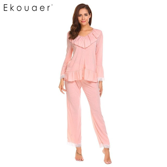 385292c090392 Ekouaer Women Pajamas Set Long Sleeve Sleepwear Ruffles Lace Patchwork  V-Neck Tops Long Pants Pajama Sets Female Nightwear Suit