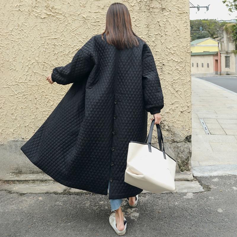 LANMREM New Fashion Black Oversize Lapel Back Vent Button Winter Jacket 18 Female's Long Cotton Coat Jaqueta Feminina WTH11 5