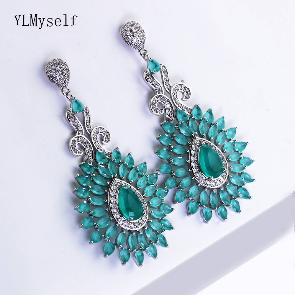 2e67cdcc1c20 Big water drop arrings with candy blue stones trendy jewelry party lady  jewellery Bohemia long earring