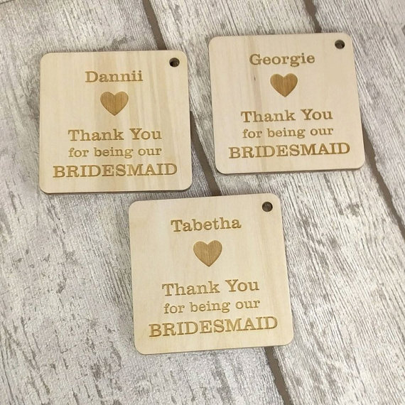 Gift For Wedding Guests Thank You: Wooden Guest Name Personalised Bridesmaid Gift, Wedding