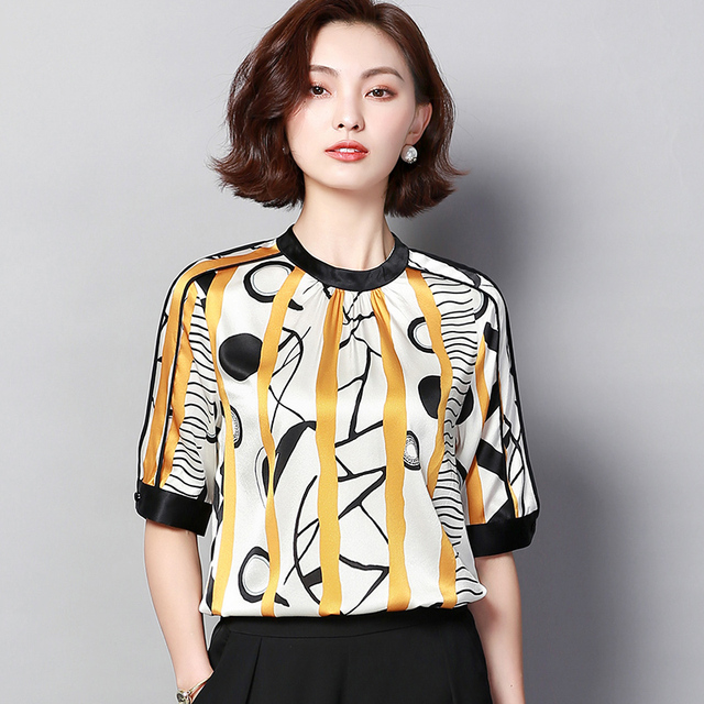 8e0c9328c54cb Elegante Plus Größe Frauen Bluse Hemd Weibliche 2019 OL Sommer Bluse  Gedruckt Frauen Tops Kurzarm Blusen Weibliche