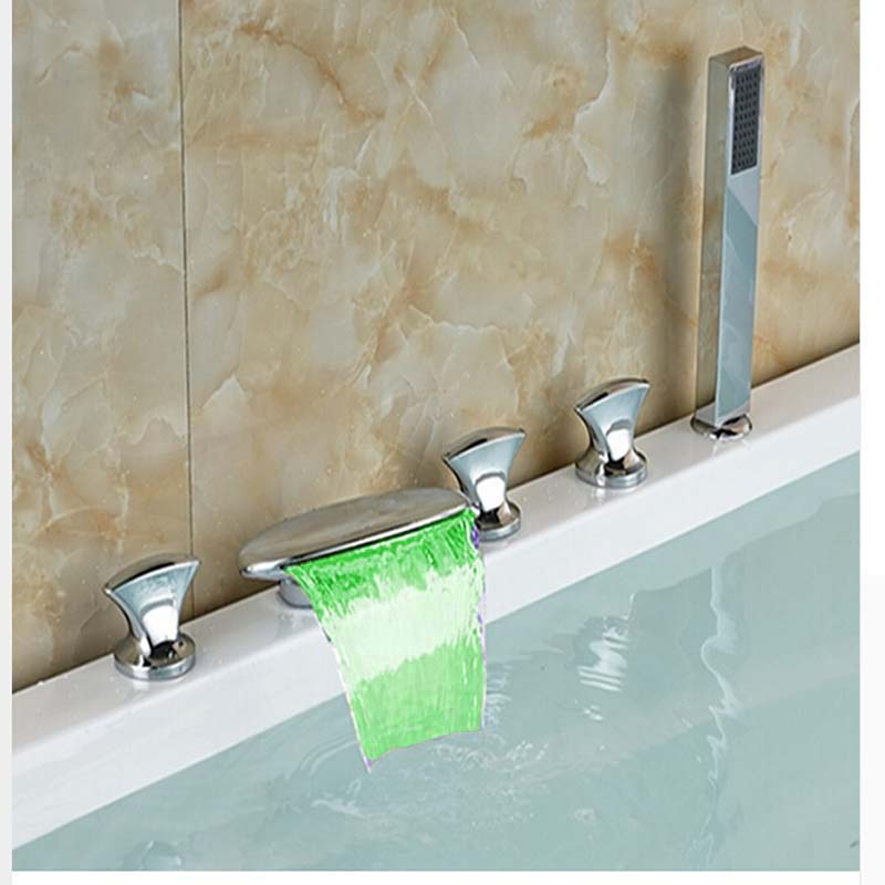 LED Color Changing Waterfall Spout Bathroom Tub Faucet 5 PCS Hand Shower Sprayer Mixer