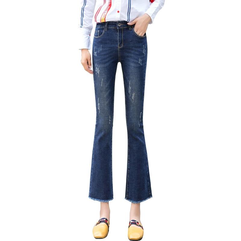 6e8d29115b2 2019 Autumn Flare Jeans Pants Plus Size Stretch Skinny Jeans Women ...