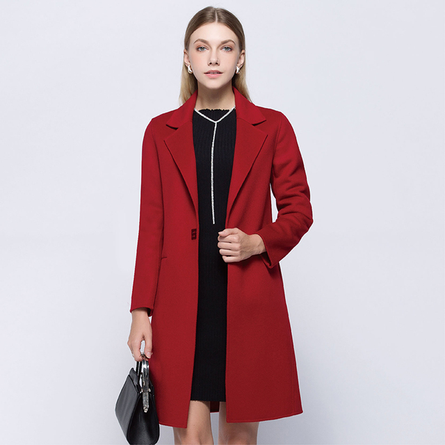 D&feel 2017 Winter Long Women Wool Coat Slim Single Button 100 ...