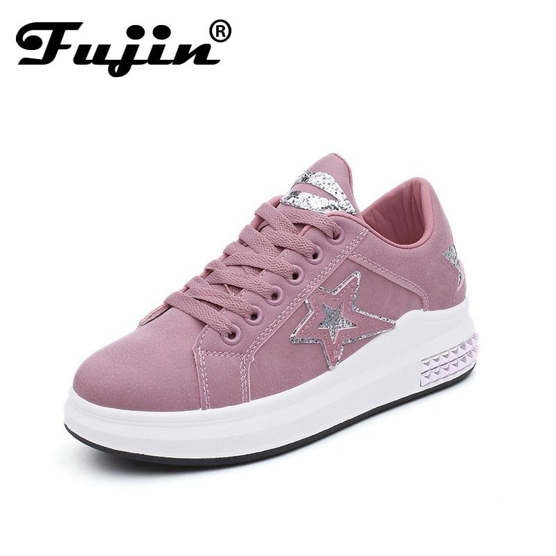 Fuijin 2018 Spring Summer Autumn Women Fashion Sneakers Female Casual Shoes Platform PU Leather ...
