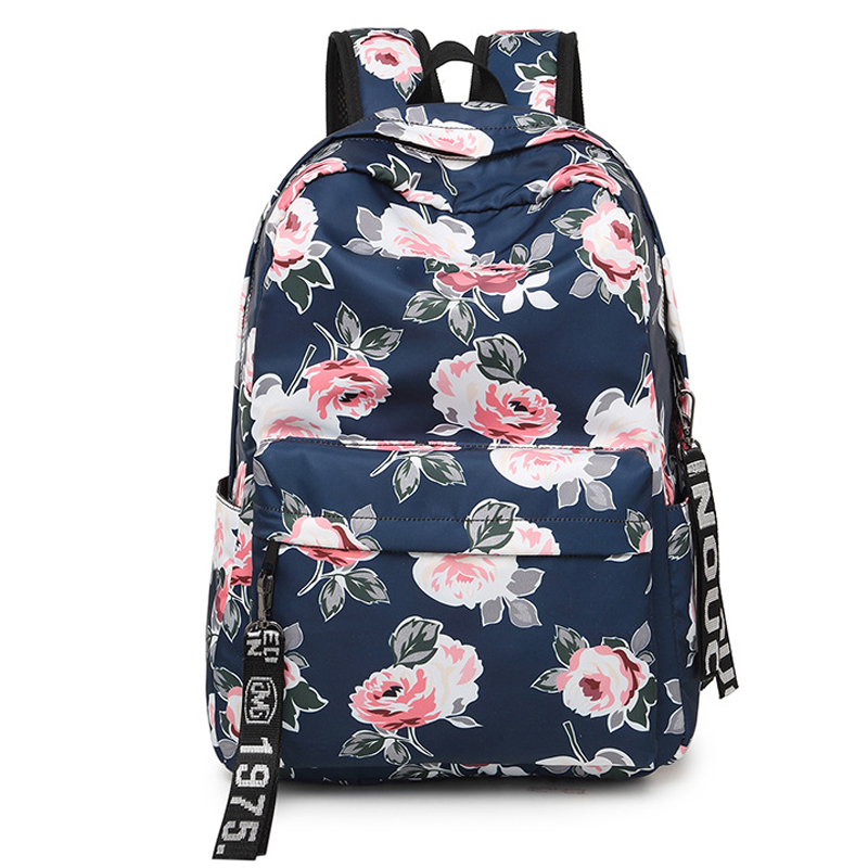 Fashion Waterproof Women Bagpack Flower Printing School Backpack for Teenage Girls College Laptop Travel Bag Knapsack Bookbag