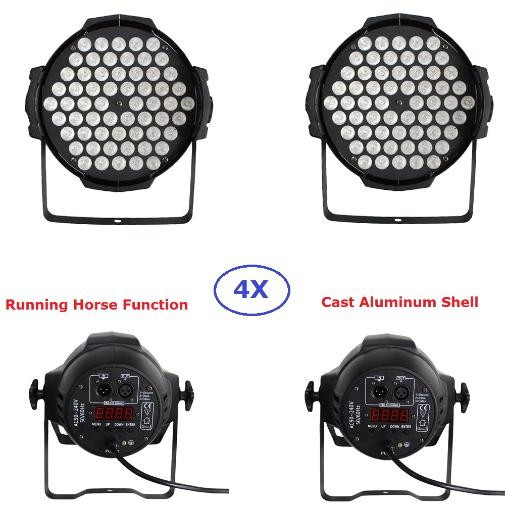 4Pcs LED Par Lights 60X3W RGB Full Color Aluminium DJ DMX Led Beam Wash Strobe Effect Stage Lighting With Running Horse Function