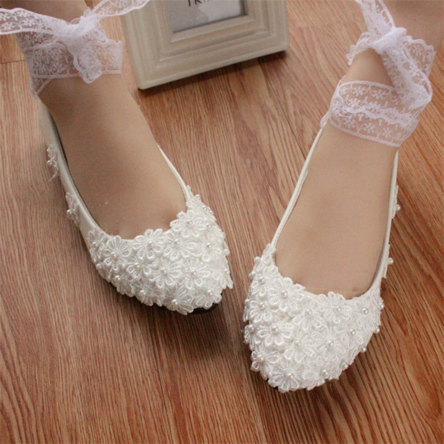 Women Bridal Ivory White Ribbons Pearls Wedding ShoesBridesmaid Dress Ballet FlatsSize 4
