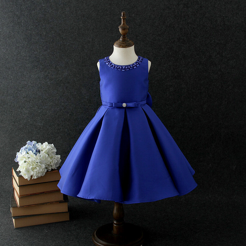 Brithday Girl Dress Vintage Mini Blue Weddings Flower Girl Vestido 2018 Party Girls Clothes 3 4 6 8 10 12 Years Old RKF184045 vintage mini flare dress