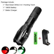3 in 1 1000 Lumens Red Green White Traveling Light Flashlight outdoor Hunting Tactics Zoomable Torch