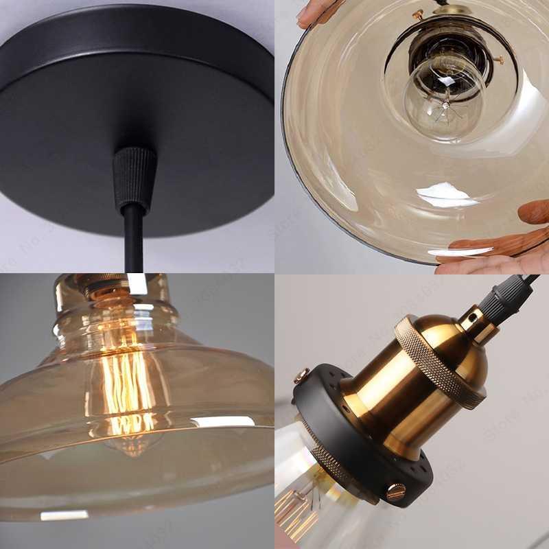 BDBQBL светодиодный Лофт винтажная подвесная люстра, подвесные светильники подвесной светильник стеклянный канат промышленный дымчатый серый Colgante Luster кухонный сад