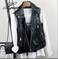 2019 spring and autumn new leather vest women short sleeveless leather