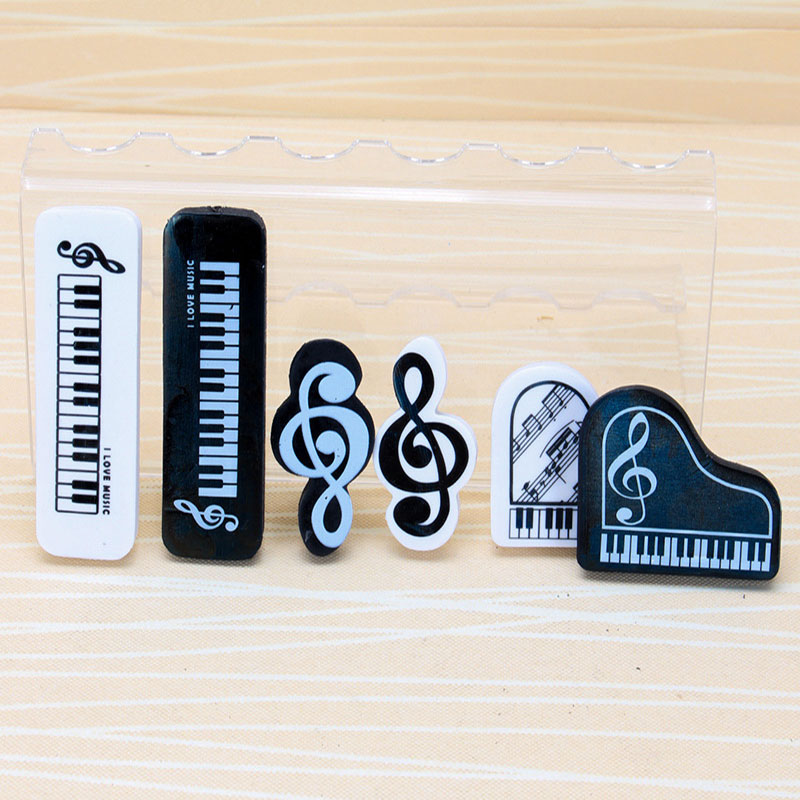2pcs Black White Musical Pencil Eraser Study School Item Office Stationery Cartoon 3D Rubber Eraser Creative Piano Music Eraser image