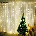 JULELYS 4 м x 4 м 512 лампочек светодиодная занавеска для сосульки гирлянды рождественские сказочные огни для свадьбы  праздника  вечеринки  дома  ...