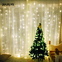 JULELYS 4M x 4M 512 Bulbs LED Icicle Curtain String Lights Christmas Fairy Lights Outdoor For Wedding Holiday Party Home Garden